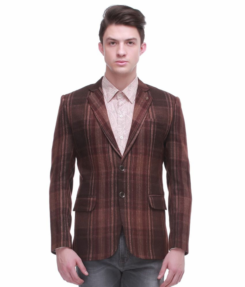Jogur Chequered Brown Full Sleeve Casual Blazer