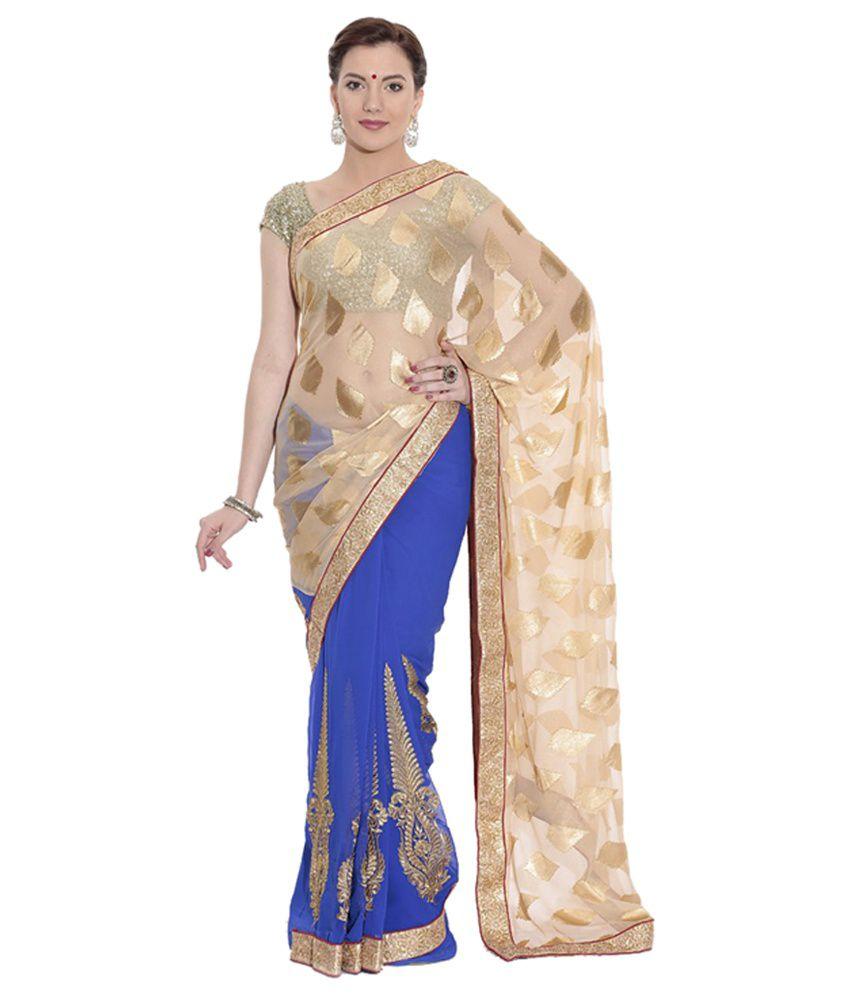c818ca25d80e63 Pothys Blue & Golden Chiffon Designer Saree with Blouse Piece - Buy Pothys  Blue & Golden Chiffon Designer Saree with Blouse Piece Online at Low Price  ...