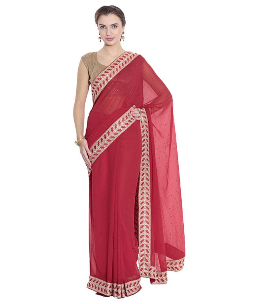 Pothys Red Chiffon Designer Saree with Blouse Piece