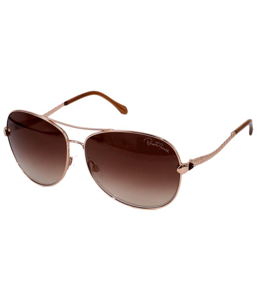 Roberto Cavalli Brown & Golden Unisex Aviator Sunglasses
