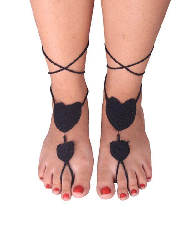 Style Burst Handmade Black Heart Designer Style Diva Barefoot sandle