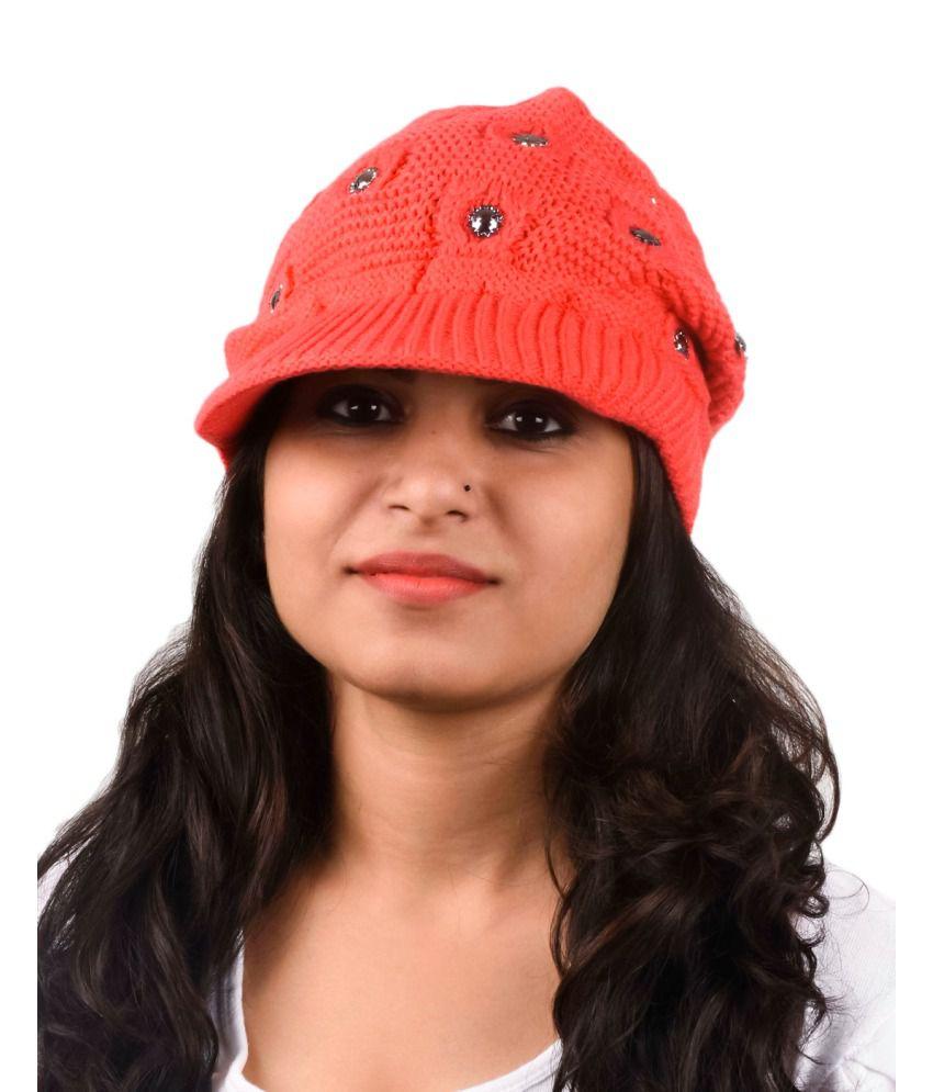 Tiekart Red Woollen Cap for Women