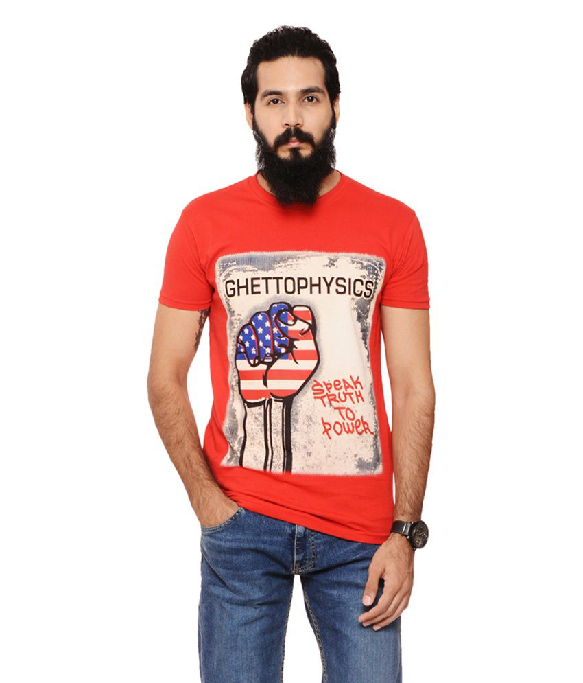 Warriors Red Cotton Round Neck Printed T-Shirt