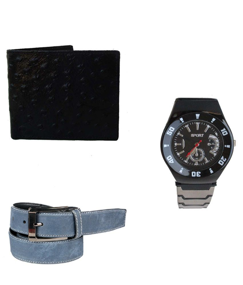 Lenin Combo Of Multicolour Leather Belt, Wallet & Wrist Watch