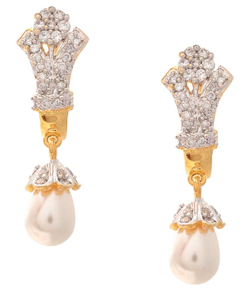 Mitali New Ethnic American Diamond Designer Handmade Cubic Zirconia CZ Wedding & Party AD Wear Earring Set