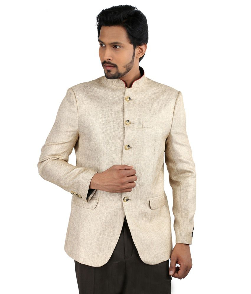 Oxemberg Beige Full Sleeves Plain Pv Slim Fit Sand Blazer