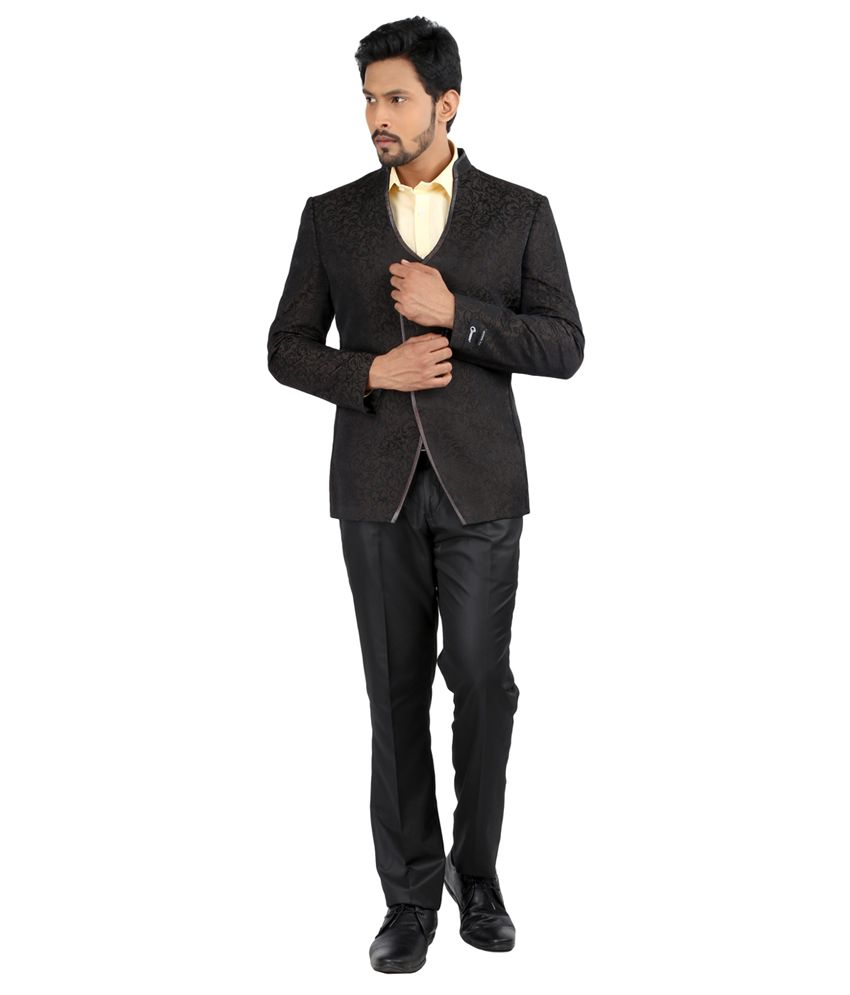 Oxemberg Brown Full Sleeves Print Polyester Slim Fit Brown Suit