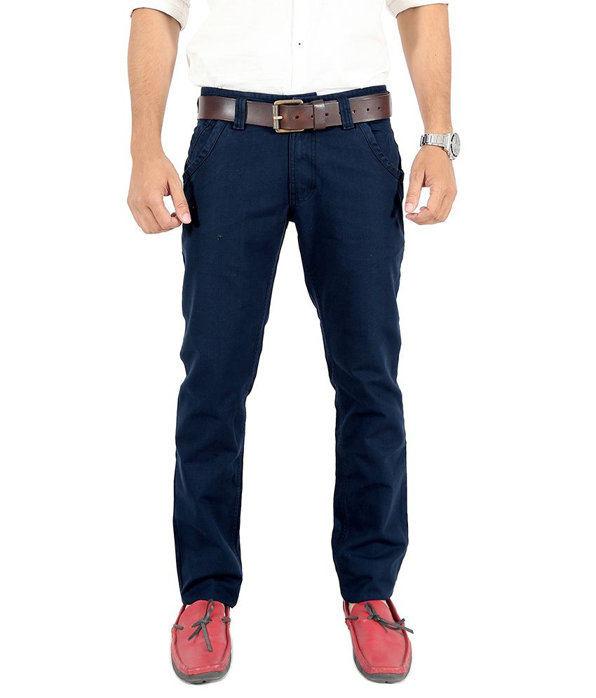Uber Urban Blue Slim Fit Casual Chinos Trouser