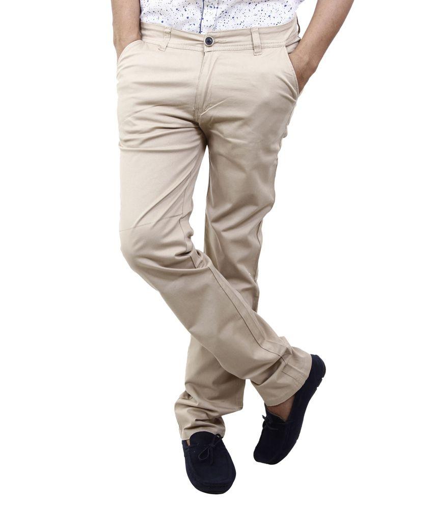 BlueTeazzers Brown Linen Slim Fit Chinos