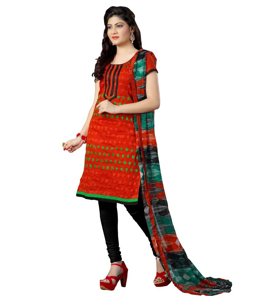 King Sales Red Chanderi Unstitched Dress Material