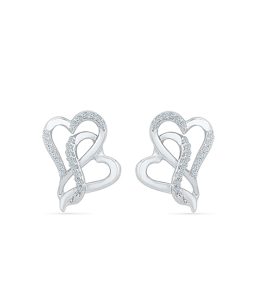 Radiant Bay 92.5 Silver Traditional Round Diamond Studs Earrings