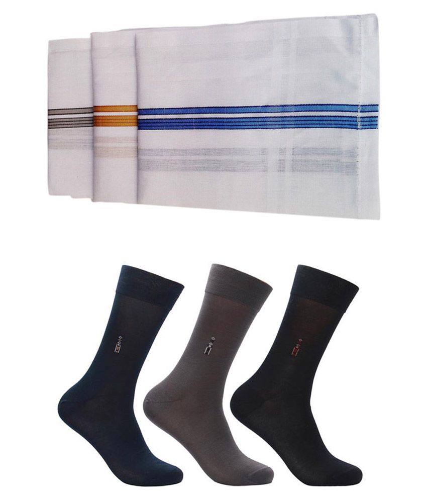 Relaible Multicolour Cotton 3 Pair Full Length Socks With 3 Handkerchief