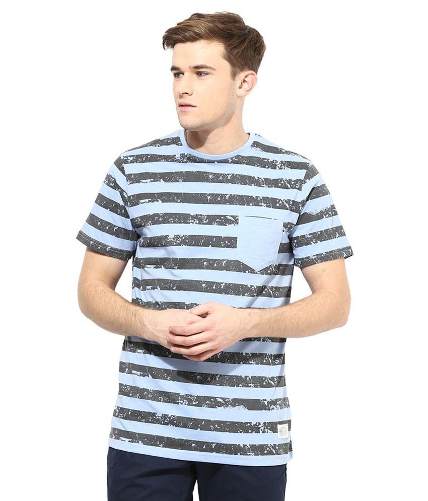 Atorse Blue Cotton Round Neck T-Shirt