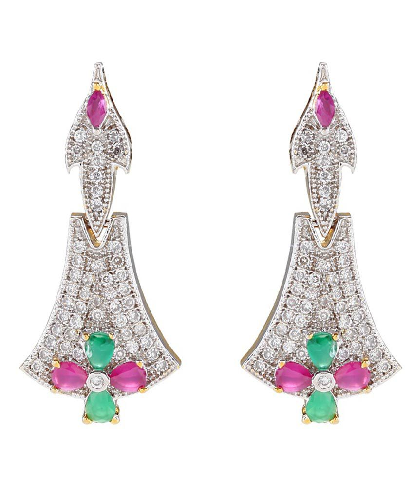 Vanity Roots American Diamond, Ruby And Emerald Hanging Earrings