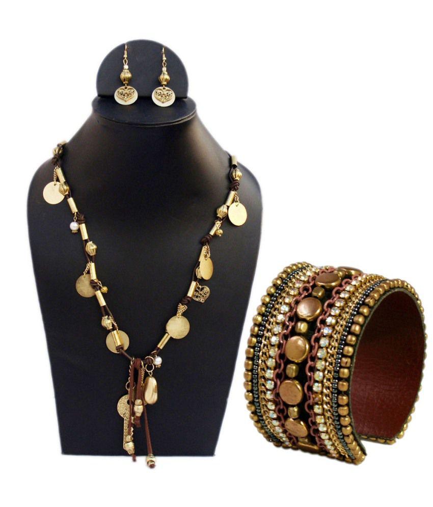 Vr Designers Combo Of Golden Brass Necklace Set And Bracelet