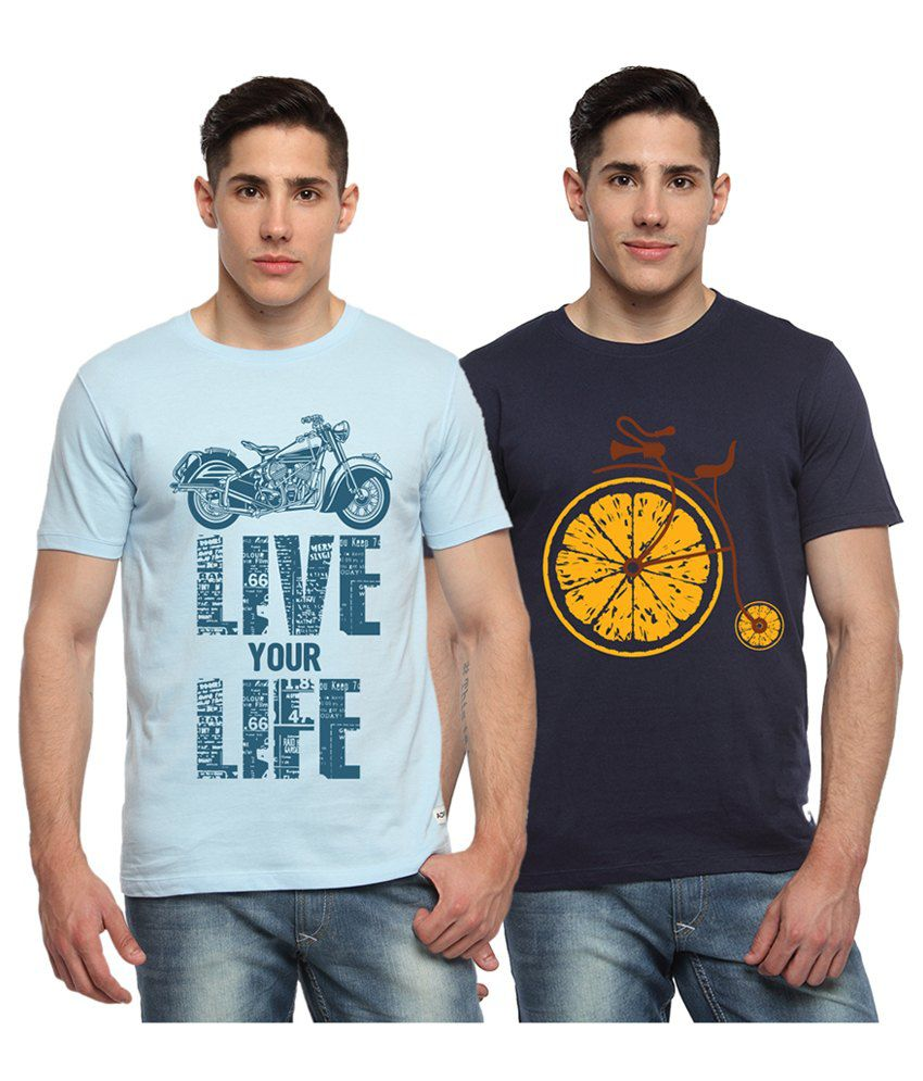 Adro Blue & Navy Blue Cotton Round Neck Printed T-Shirts (Pack of 2)