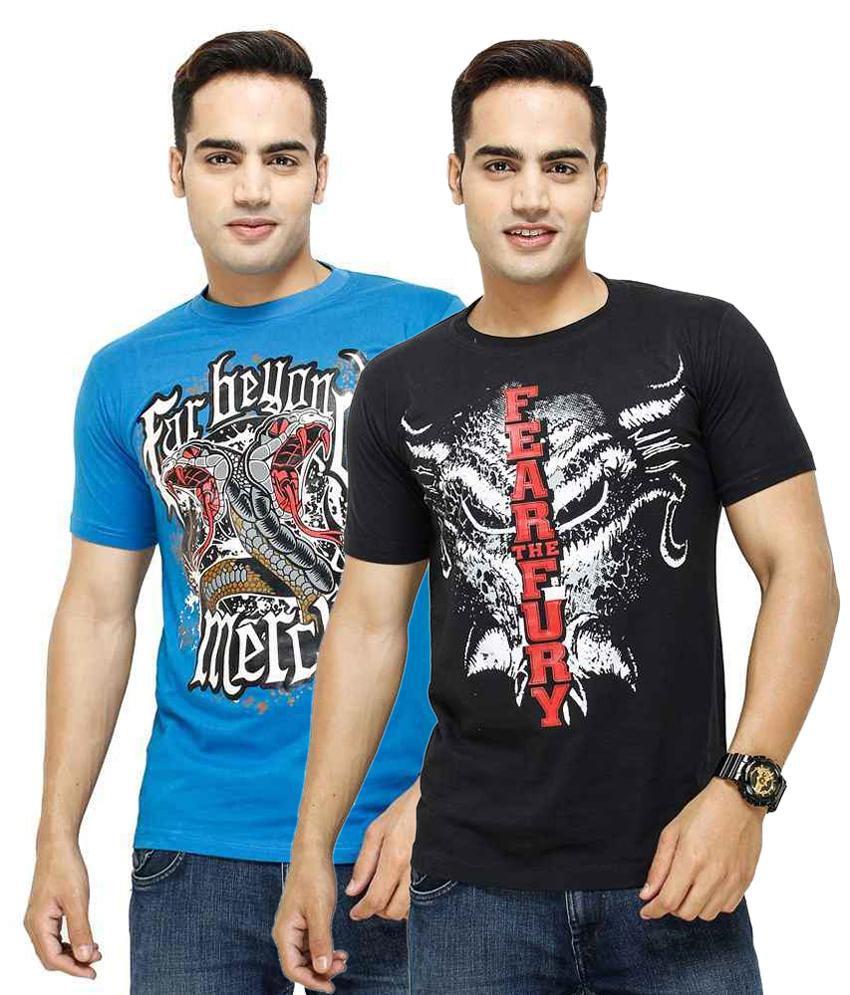 Blue Ocean Black and Blue Cotton Blend T Shirt - Pack of 2