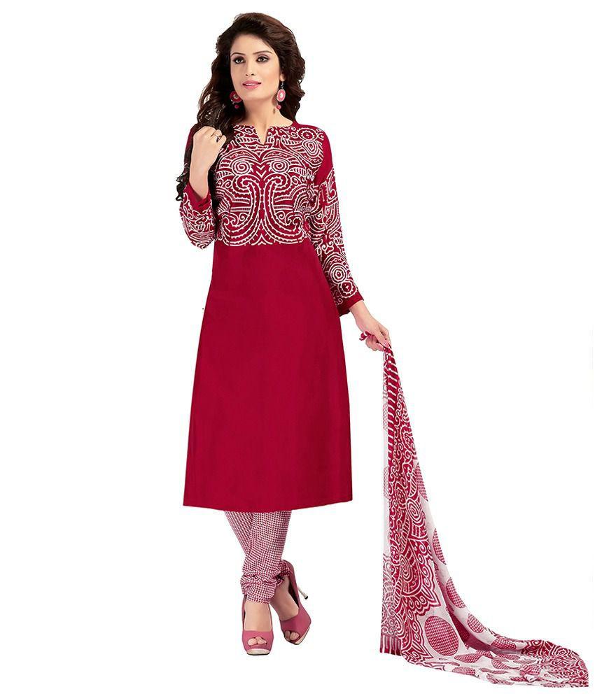 Khobee Maroon Art Crepe Unstitched Dress Material