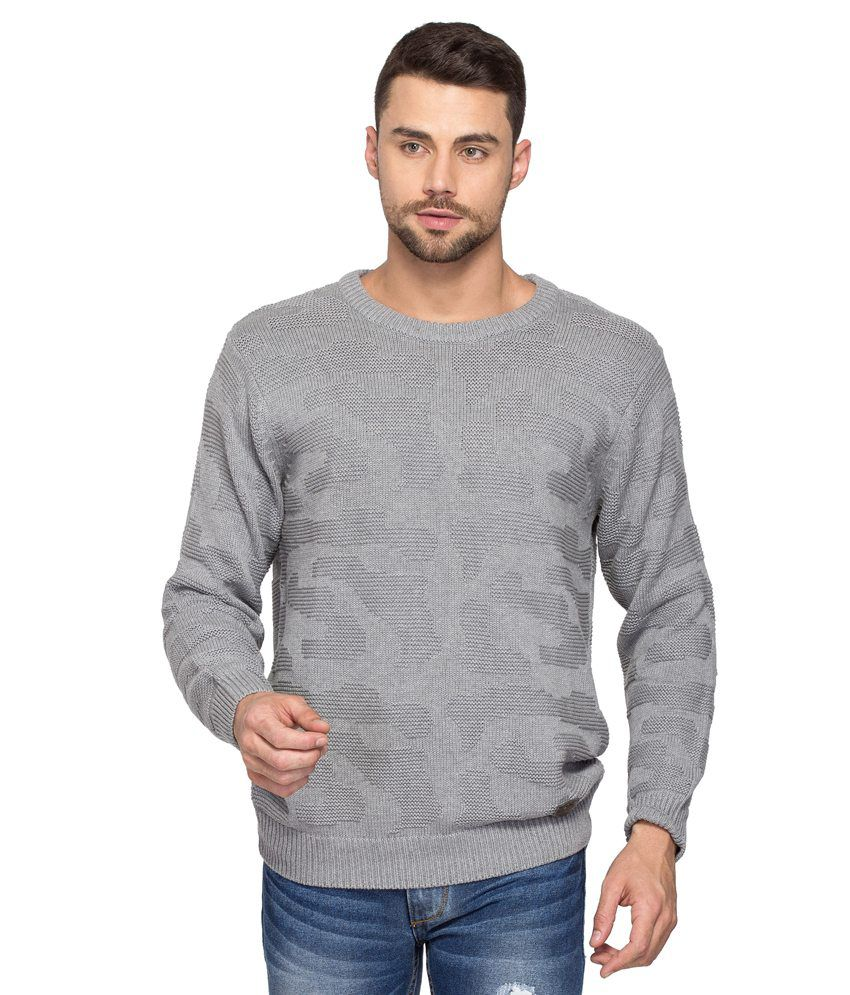 Spykar Grey Cotton T-Shirt