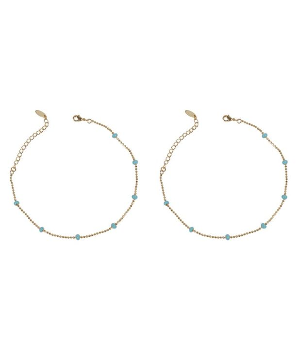 Much More Sky Blue Gold Plated Anklets