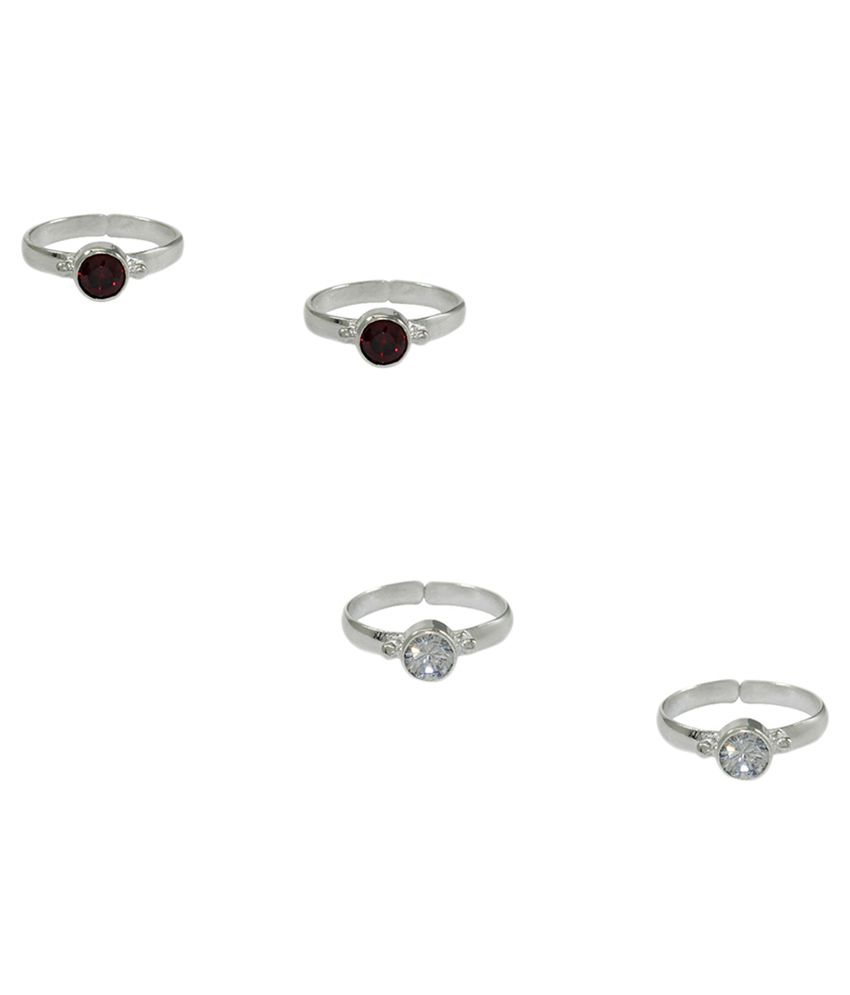 Frabjous Zircon German Silver Toe Ring - Pack of 2