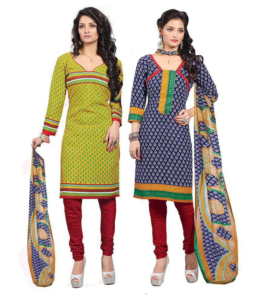 Jiya Yellow Cotton Unstitched Dress Material- Pack of 2