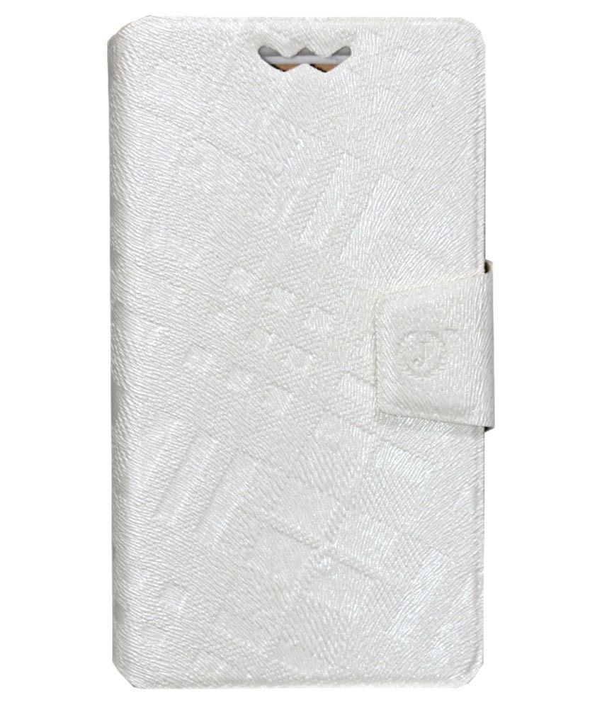 Jo Jo Flip Cover With Holder For IBall Andi 5h Quadro   White available at SnapDeal for Rs.590