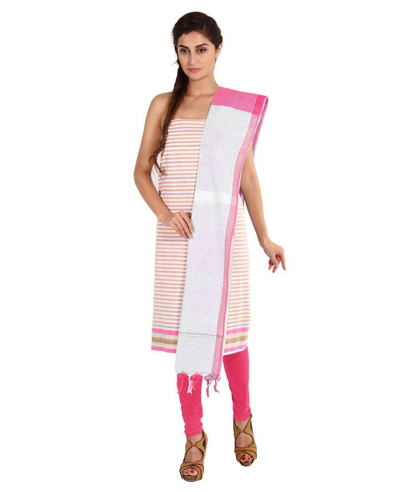 Pratami Pink Cotton Unstitched Dress Material