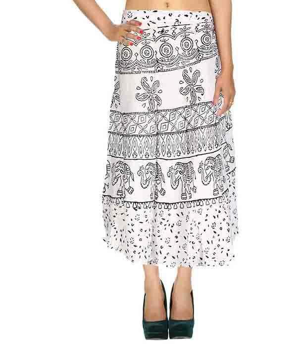 Rajrang White Rayon Midi Skirt