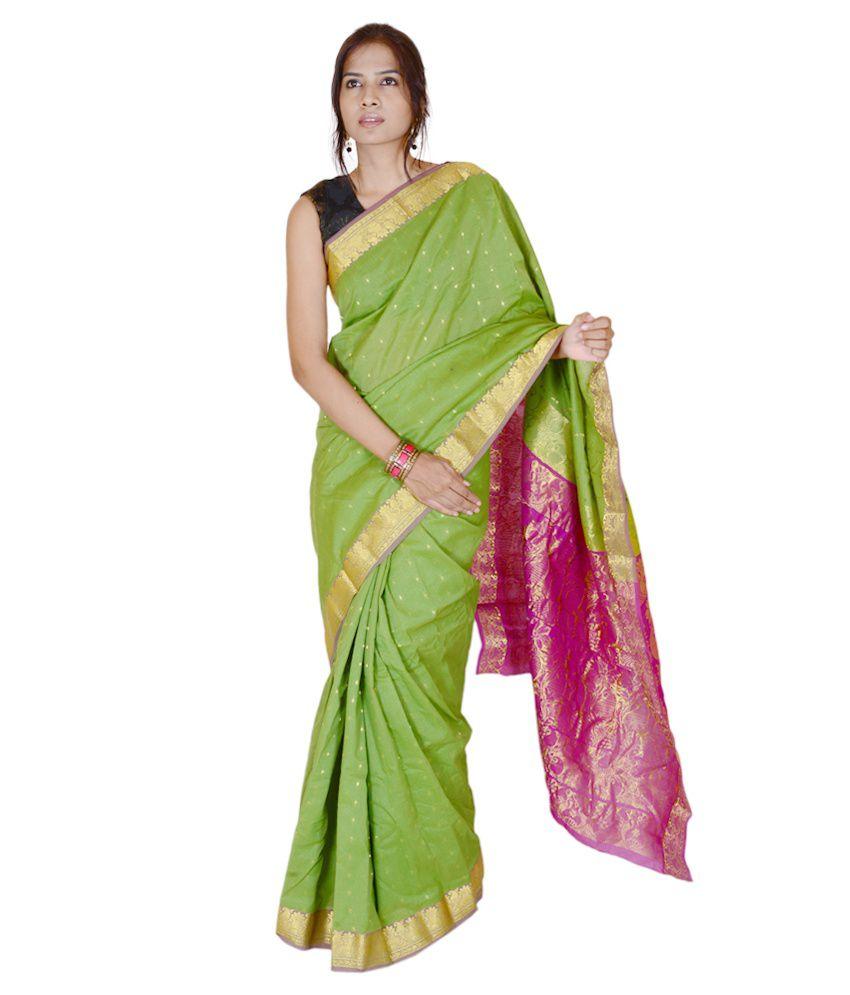 Alamin Saree Green Cotton Silk Saree