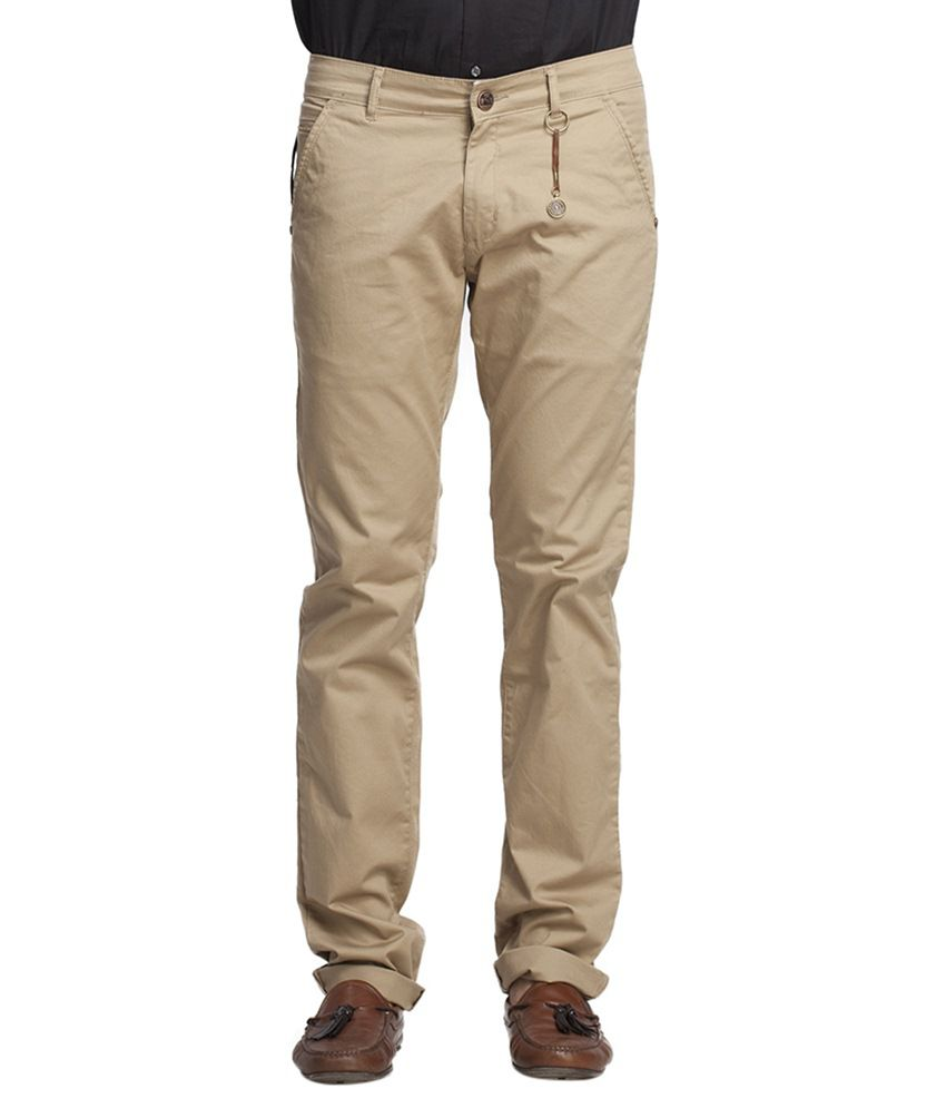 Beevee Beige Regular Fit Casual Trouser