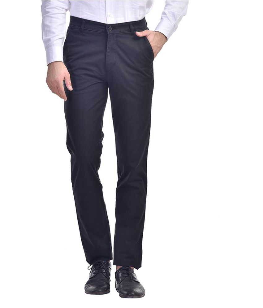 Kingswood Black Cotton Blend Slim Fit Trouser