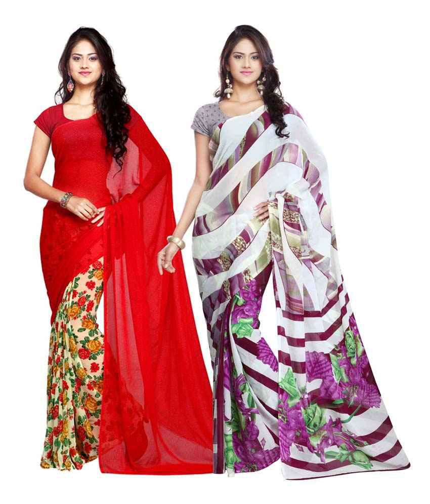 Looklady Red And Purple Semi Chiffon Pack Of 2