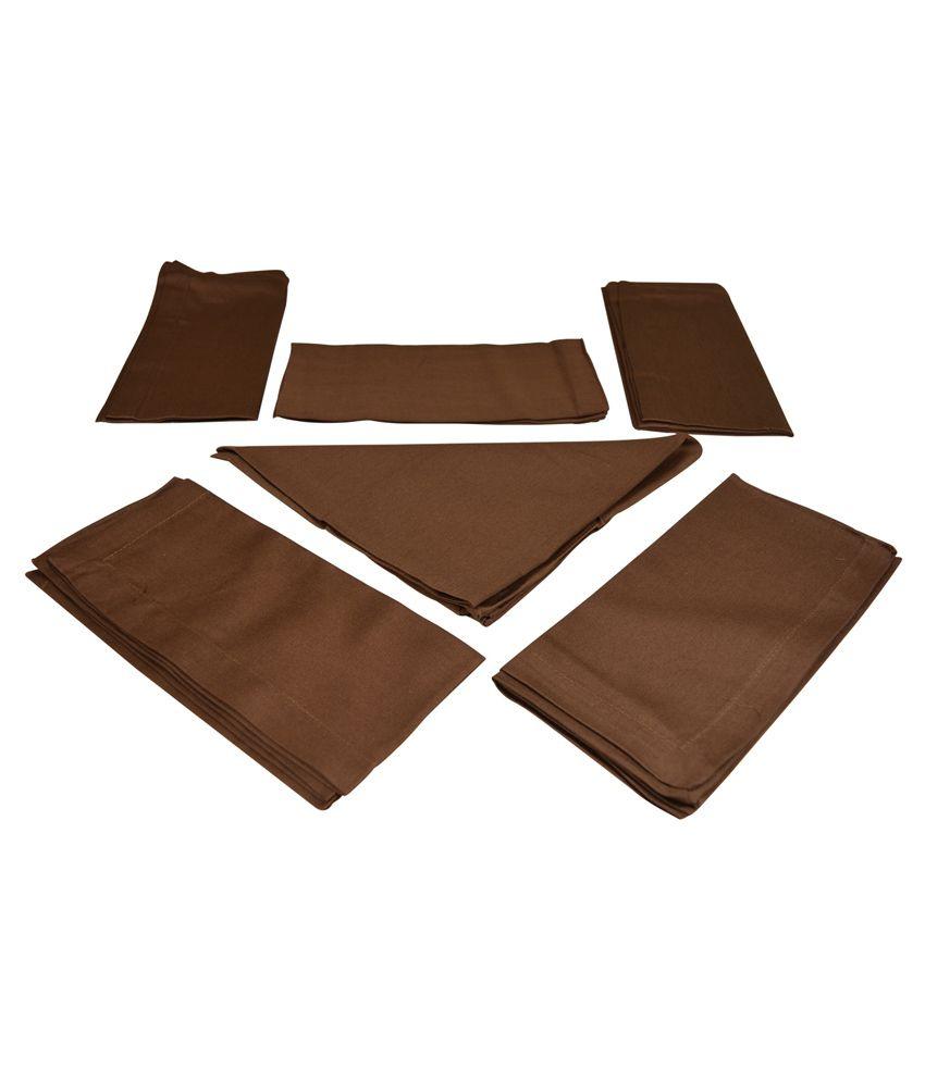 The Fancy Mart Brown Cotton Napkins - Set Of 6