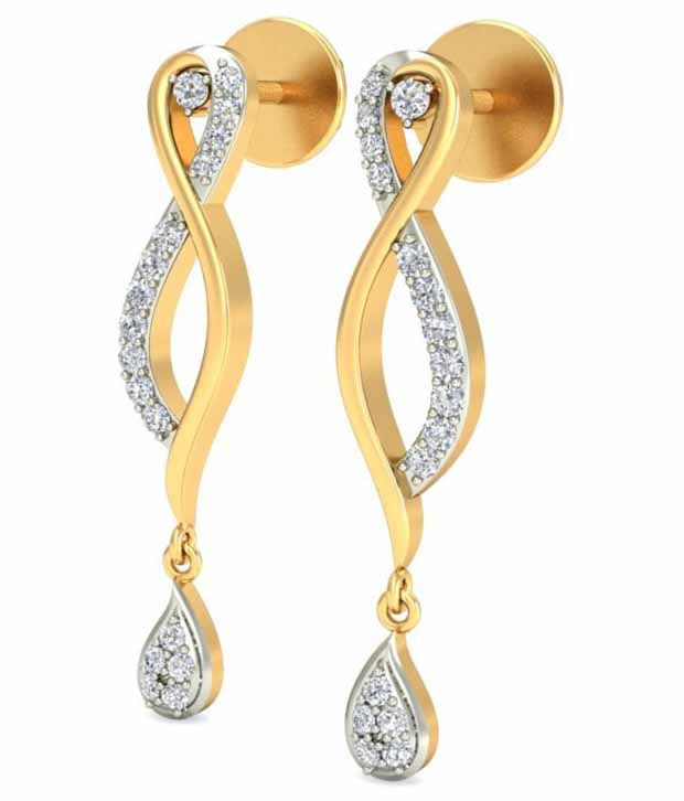 Timesdeals 18kt Gold Hallmarked Diamond Drop Earrings