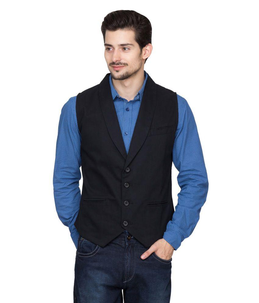 Hypernation Black Casual Waistcoat