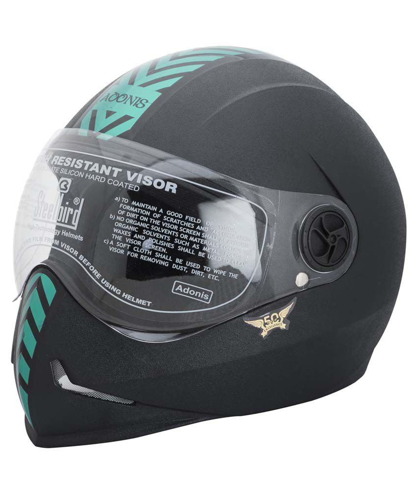 Steelbird Helmet Adonis Dashing Black With Green Sticker