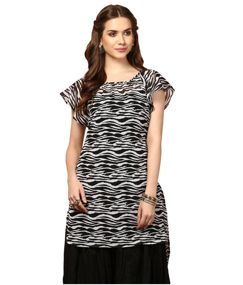 Yepme Black and White Poly Georgette Tunic