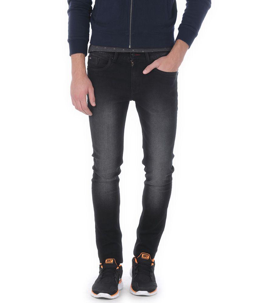 Basics Black Blended Cotton Jeans