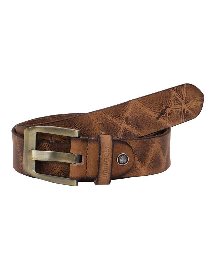 Hornbull Tan Casual Belt For Men
