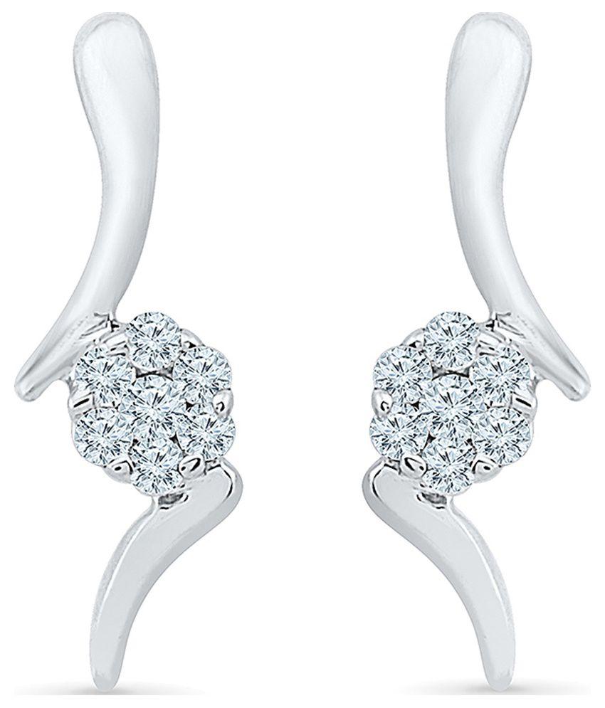 Radiant Bay Cluster 14Kt White Gold Drop Earrings
