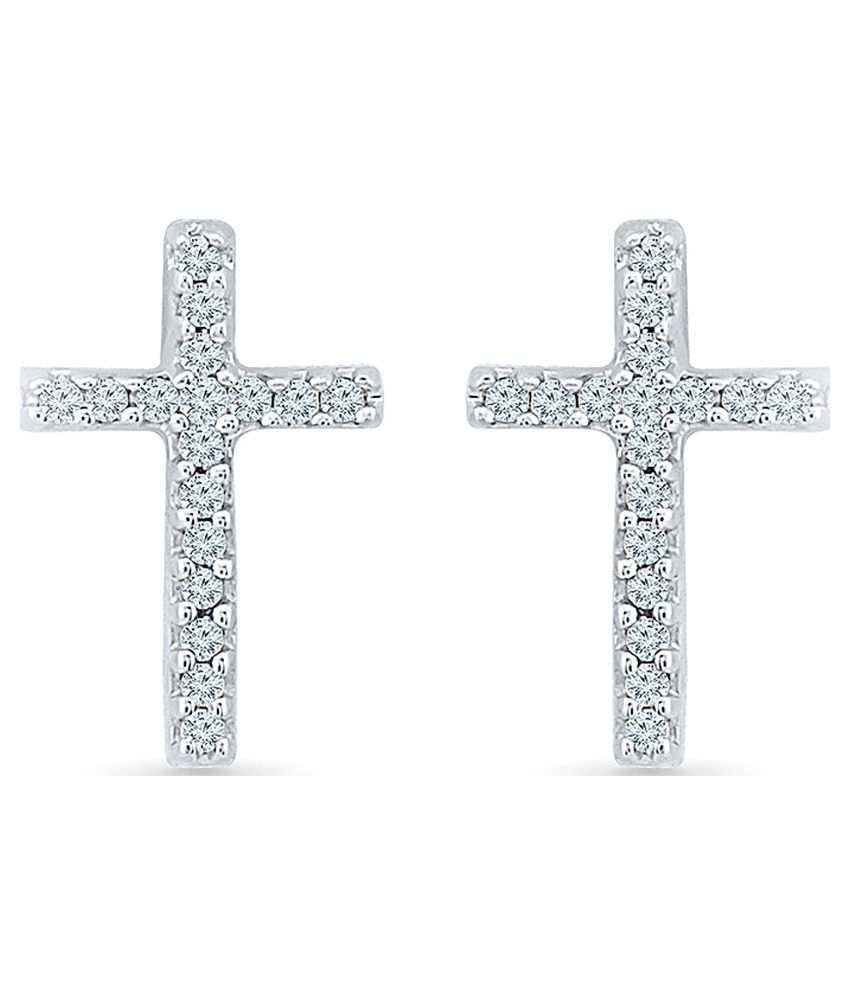 Radiant Bay Traditional 14Kt White Gold Studs Earrings