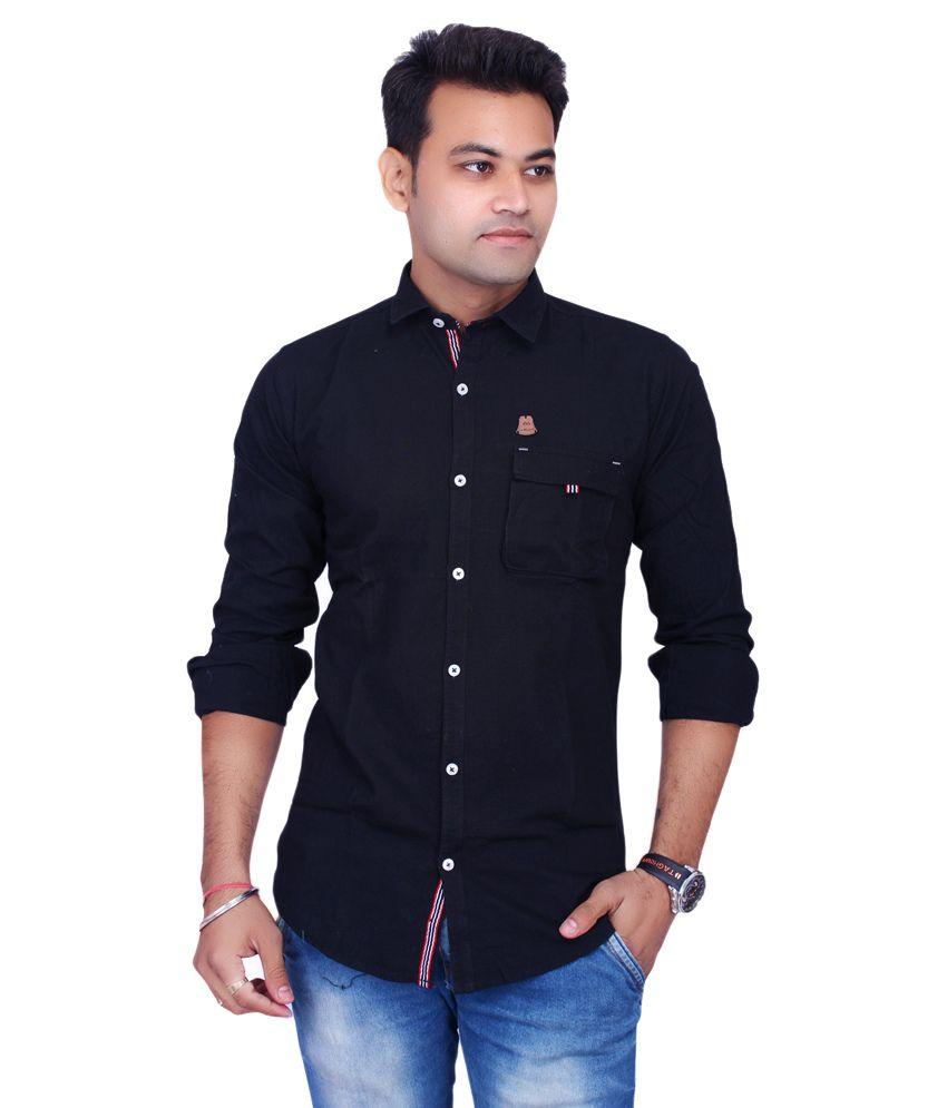 La Milano Black Casual Slim Fit Shirt