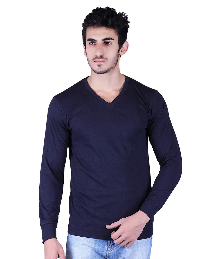 Vivid Bharti Navy V-Neck T-Shirt