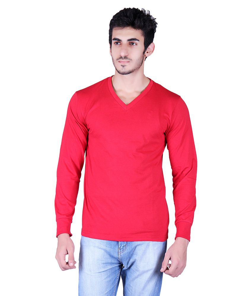 Vivid Bharti Red Cotton Blend Full Sleeves T-shirt