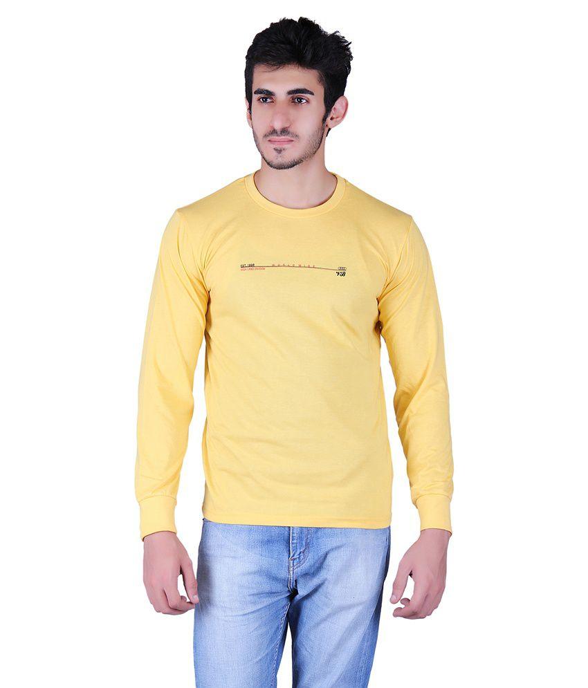 Vivid Bharti Yellow Cotton Blend Full Sleeves T-shirt
