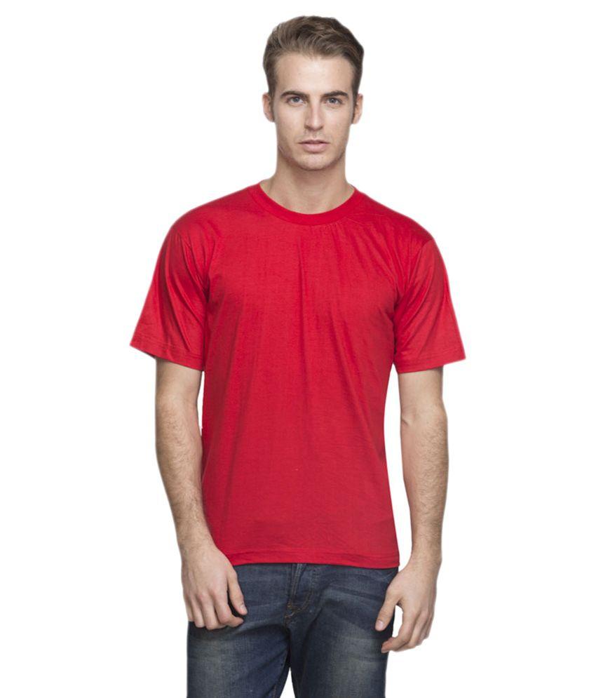 Alangar Silk Red Cotton Blend T-shirt