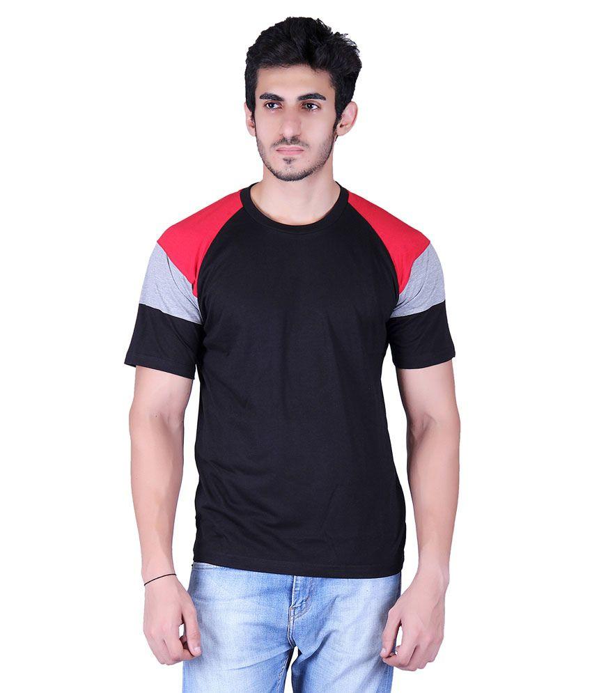 Vivid Bharti Black Cotton Blend T-Shirt
