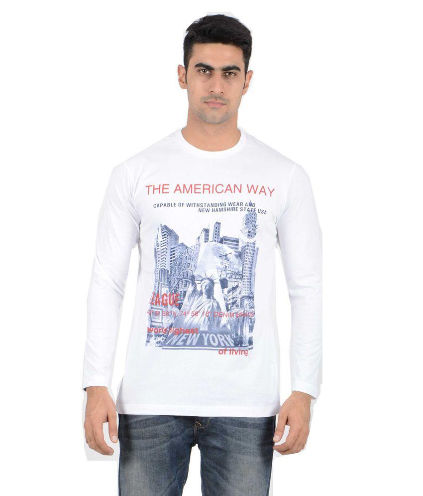 AJC White Cotton T-Shirt