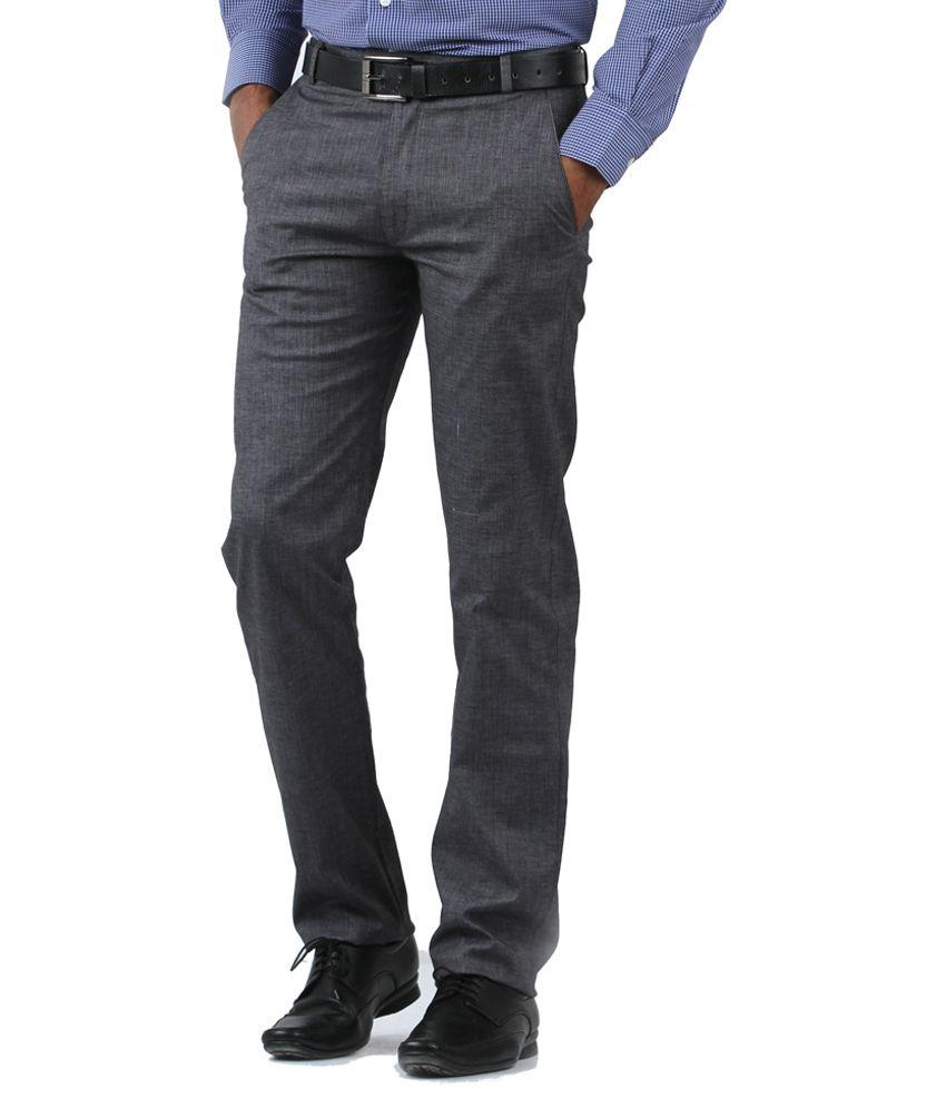Cotton Berry Grey Cotton Regular Fit Formal Trouser